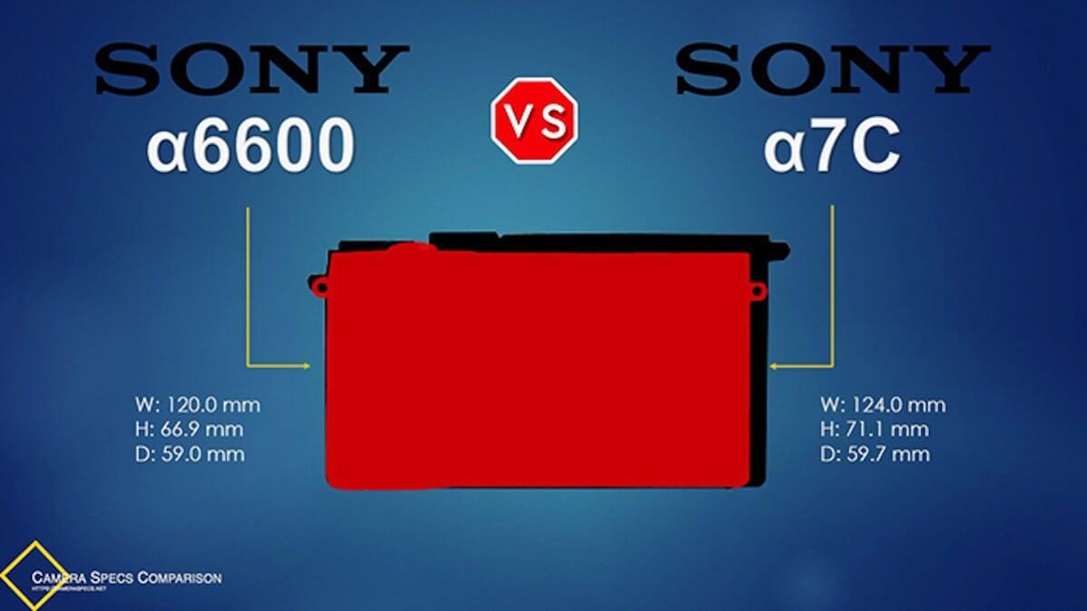 Sony a6600 vs Sony a7C Camera Size Comparison Overlay